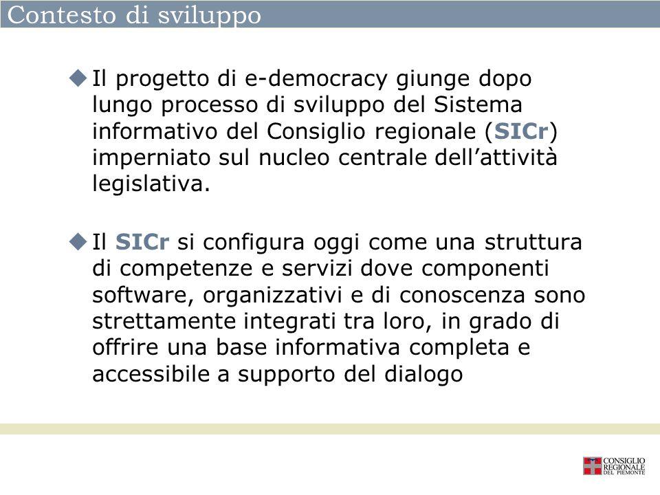 Contesto di sviluppo Il progetto di e-democracy giunge dopo lungo processo di sviluppo del Sistema informativo del Consiglio regionale (SICr) impernia