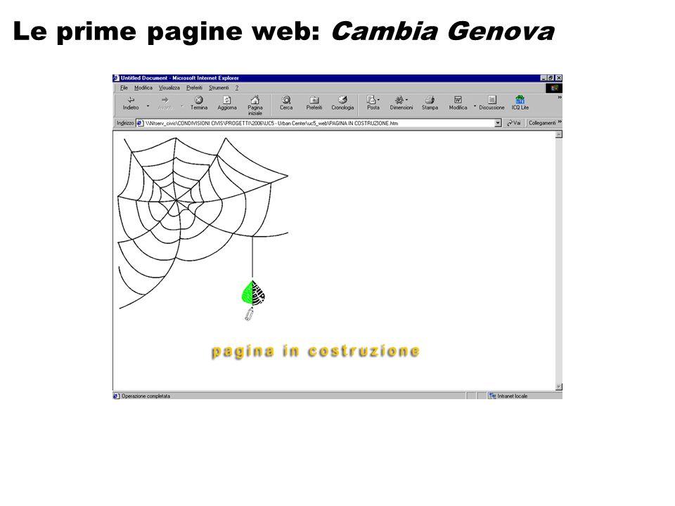 Le prime pagine web: Cambia Genova