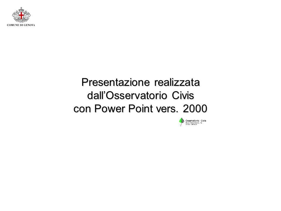 Presentazione realizzata dallOsservatorio Civis con Power Point vers.