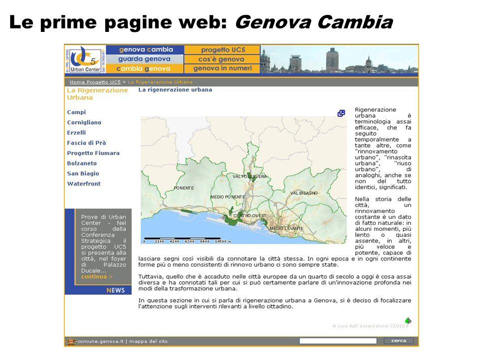 Le prime pagine web: Genova Cambia