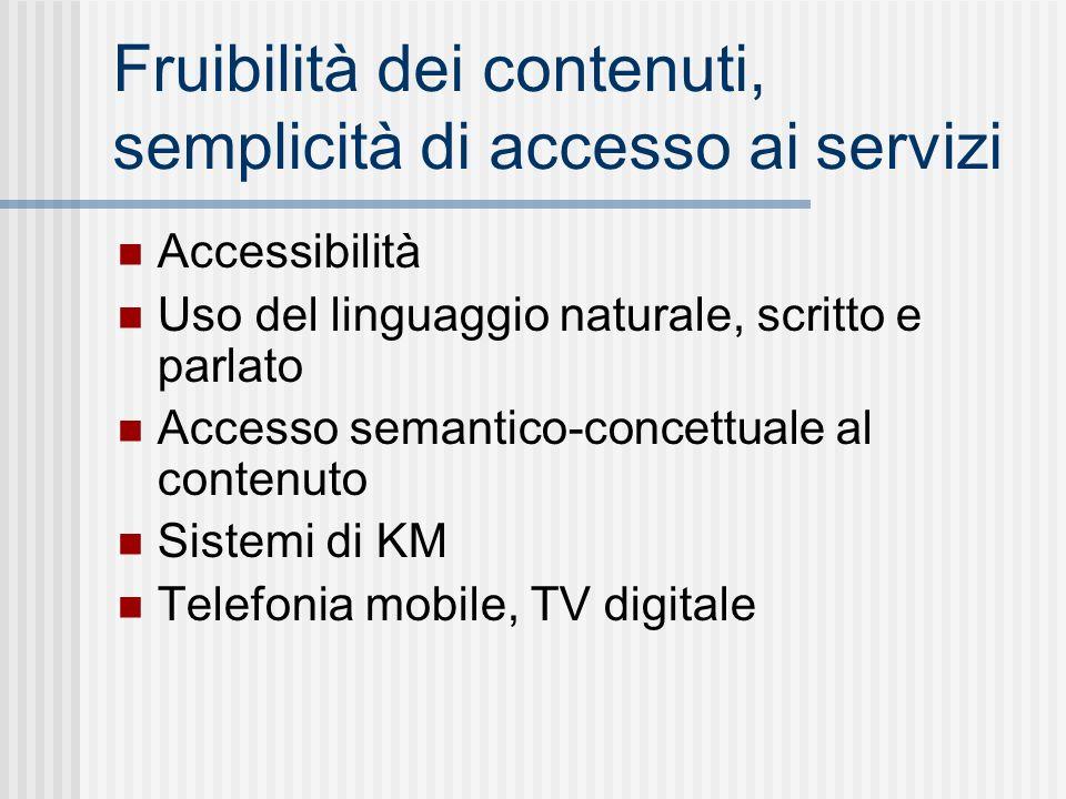 Fruibilità dei contenuti, semplicità di accesso ai servizi Accessibilità Uso del linguaggio naturale, scritto e parlato Accesso semantico-concettuale al contenuto Sistemi di KM Telefonia mobile, TV digitale