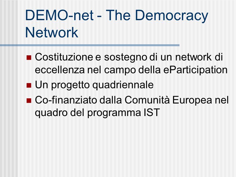 DEMO-net - The Democracy Network Costituzione e sostegno di un network di eccellenza nel campo della eParticipation Un progetto quadriennale Co-finanziato dalla Comunità Europea nel quadro del programma IST