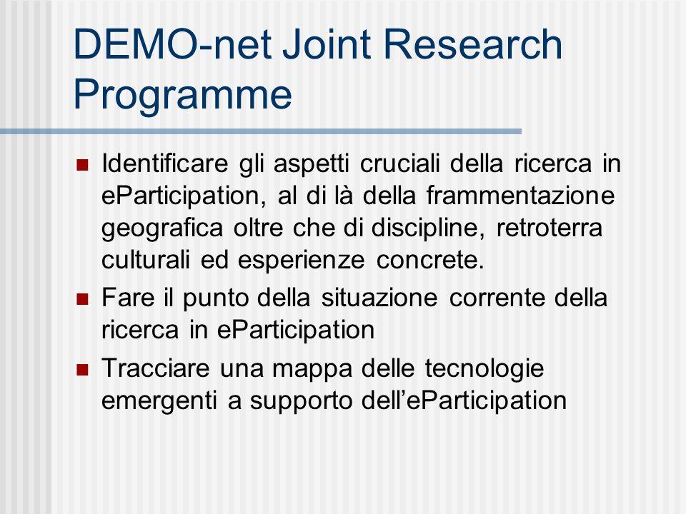 DEMO-net Joint Research Programme Identificare gli aspetti cruciali della ricerca in eParticipation, al di là della frammentazione geografica oltre che di discipline, retroterra culturali ed esperienze concrete.