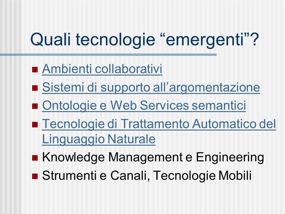Quali tecnologie emergenti.
