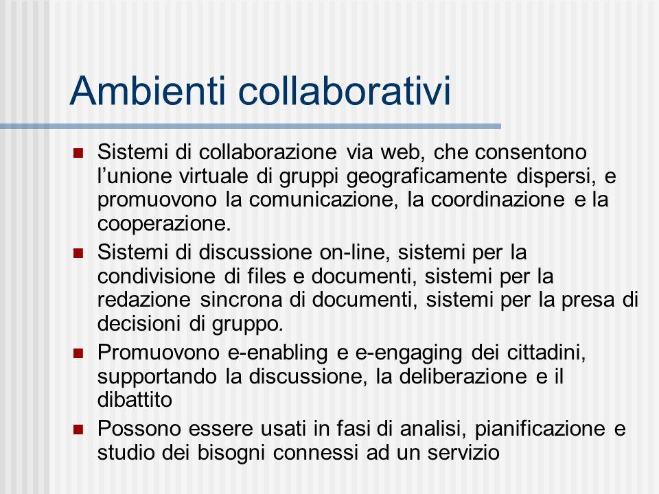 Ambienti collaborativi Sistemi di collaborazione via web, che consentono lunione virtuale di gruppi geograficamente dispersi, e promuovono la comunicazione, la coordinazione e la cooperazione.