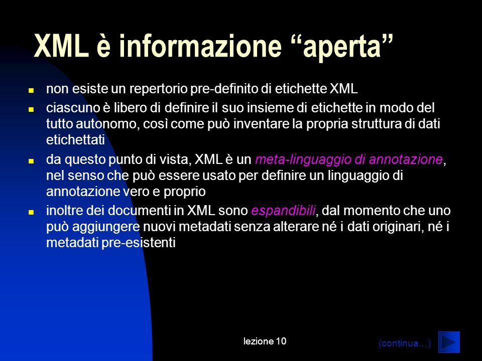 lezione 10 non esiste un repertorio pre-definito di etichette XML ciascuno è libero di definire il suo insieme di etichette in modo del tutto autonomo