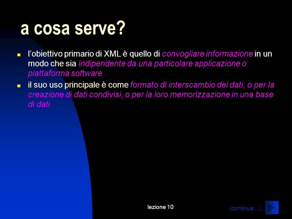 lezione 10 lobiettivo primario di XML è quello di convogliare informazione in un modo che sia indipendente da una particolare applicazione o piattafor