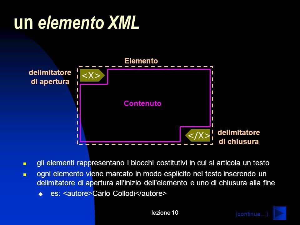 lezione 10 un elemento XML gli elementi rappresentano i blocchi costitutivi in cui si articola un testo ogni elemento viene marcato in modo esplicito