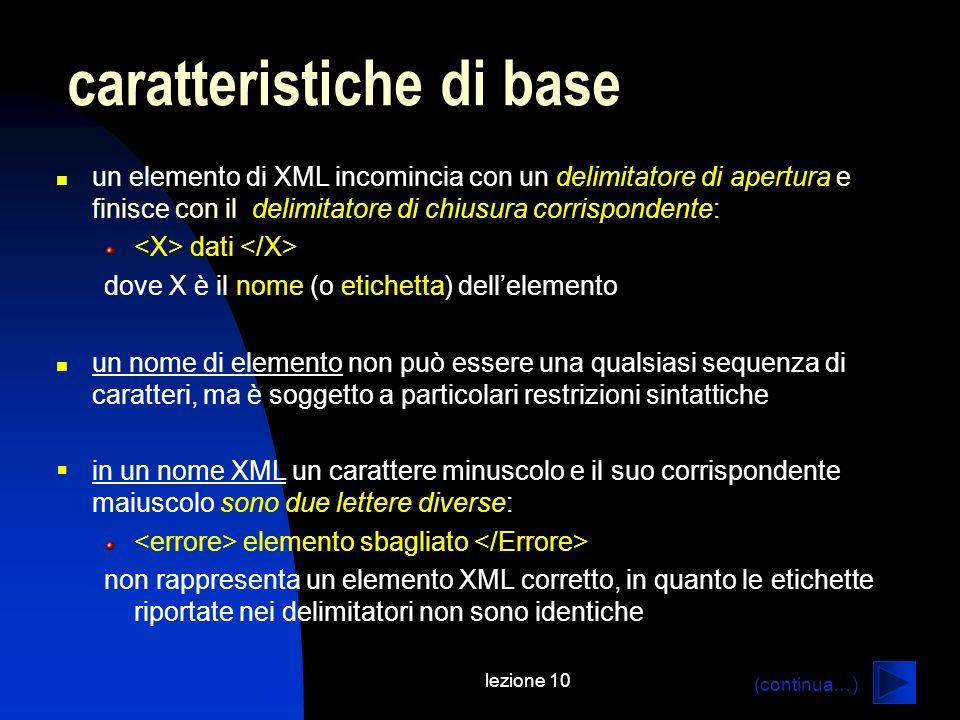 lezione 10 un elemento di XML incomincia con un delimitatore di apertura e finisce con il delimitatore di chiusura corrispondente: dati dove X è il no