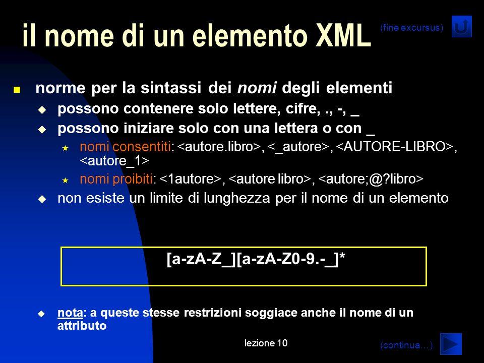 lezione 10 il nome di un elemento XML norme per la sintassi dei nomi degli elementi possono contenere solo lettere, cifre,., -, _ possono iniziare sol