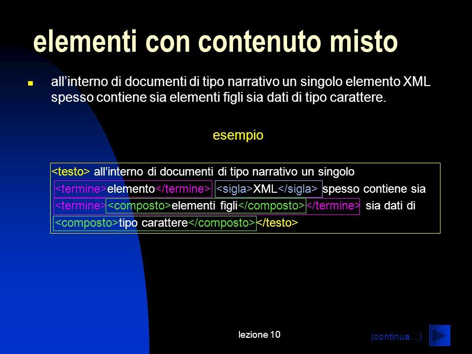 lezione 10 allinterno di documenti di tipo narrativo un singolo elemento XML spesso contiene sia elementi figli sia dati di tipo carattere. esempio al