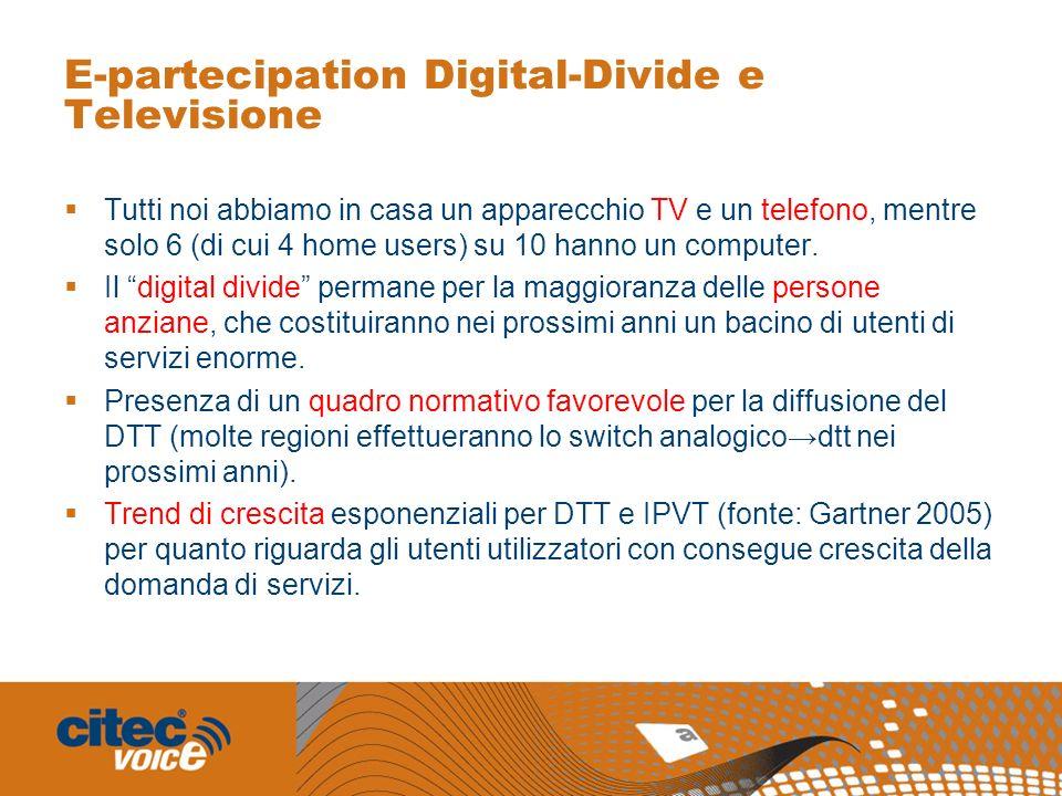 E-partecipation Digital-Divide e Televisione Tutti noi abbiamo in casa un apparecchio TV e un telefono, mentre solo 6 (di cui 4 home users) su 10 hann