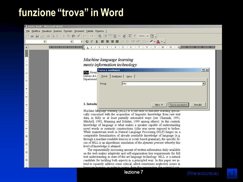 lezione 7 funzione trova in Word (fine excursus)