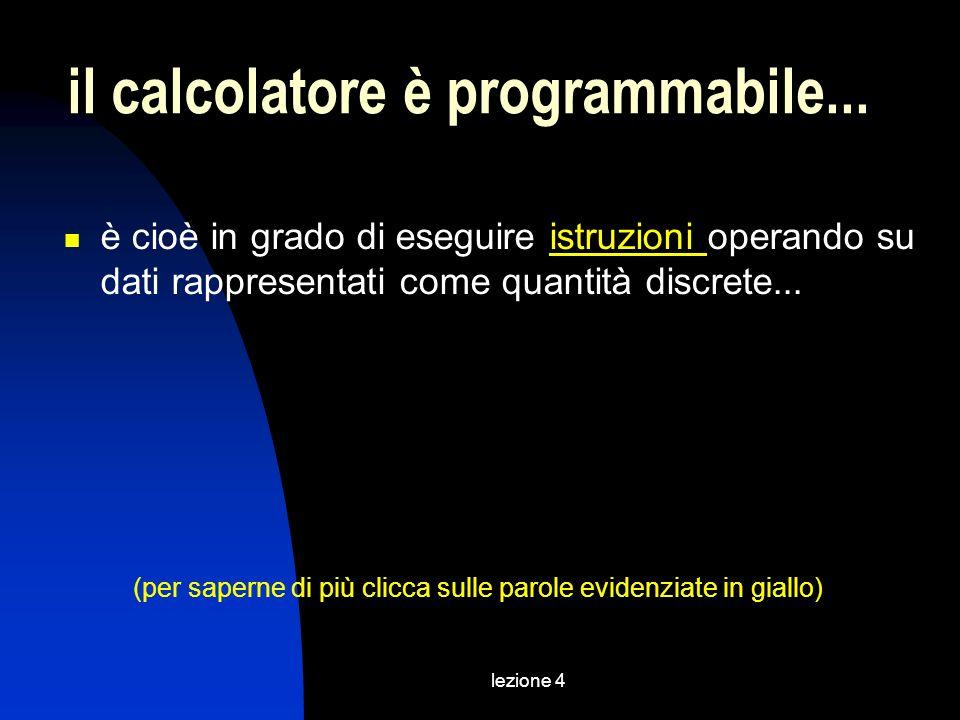 lezione 4 il calcolatore è programmabile... è cioè in grado di eseguire istruzioni operando su dati rappresentati come quantità discrete...istruzioni
