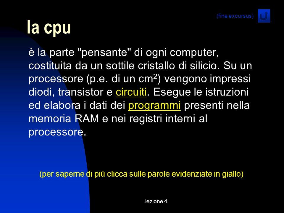 lezione 4 la cpu è la parte pensante di ogni computer, costituita da un sottile cristallo di silicio.