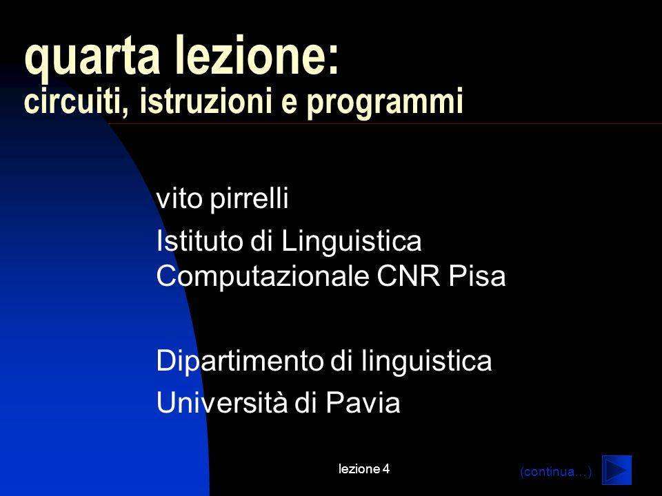 lezione 4 quarta lezione: circuiti, istruzioni e programmi vito pirrelli Istituto di Linguistica Computazionale CNR Pisa Dipartimento di linguistica Università di Pavia (continua…)
