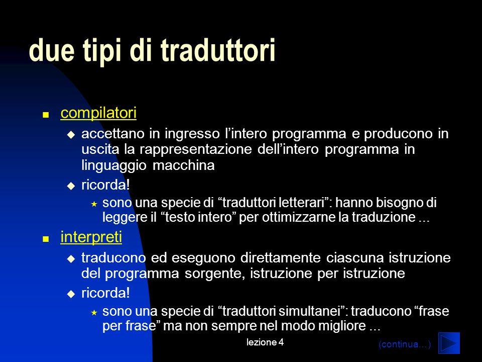 lezione 4 due tipi di traduttori compilatori accettano in ingresso lintero programma e producono in uscita la rappresentazione dellintero programma in linguaggio macchina ricorda.