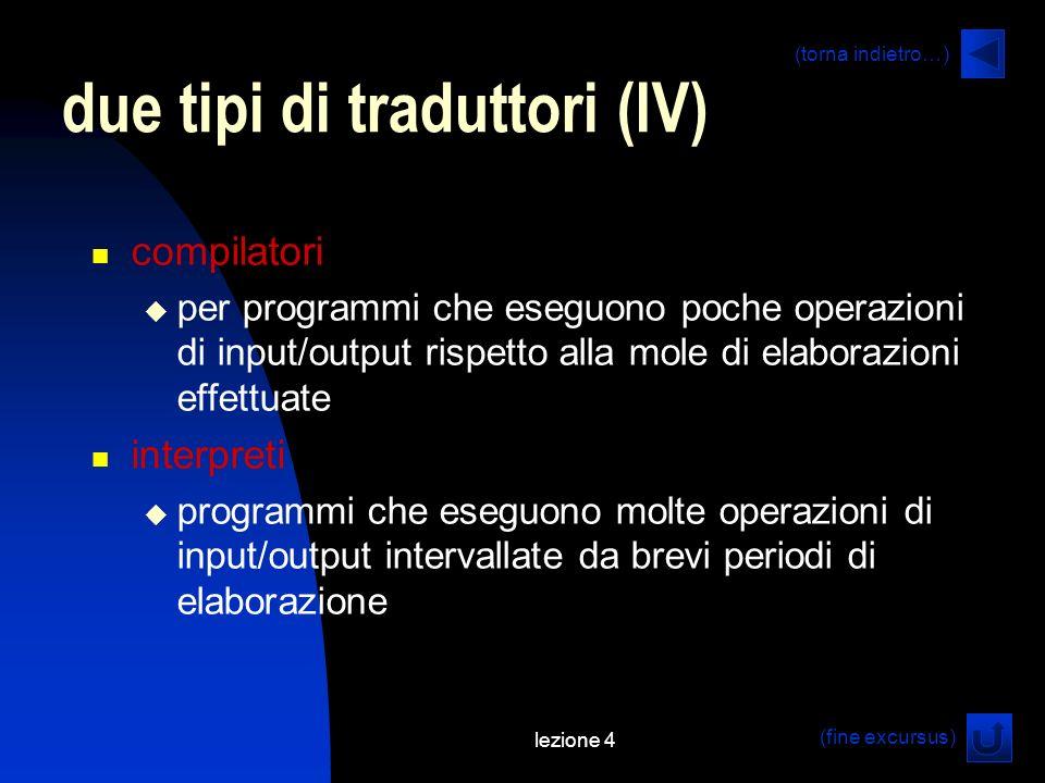 lezione 4 due tipi di traduttori (IV) compilatori per programmi che eseguono poche operazioni di input/output rispetto alla mole di elaborazioni effettuate interpreti programmi che eseguono molte operazioni di input/output intervallate da brevi periodi di elaborazione (fine excursus) (torna indietro…)