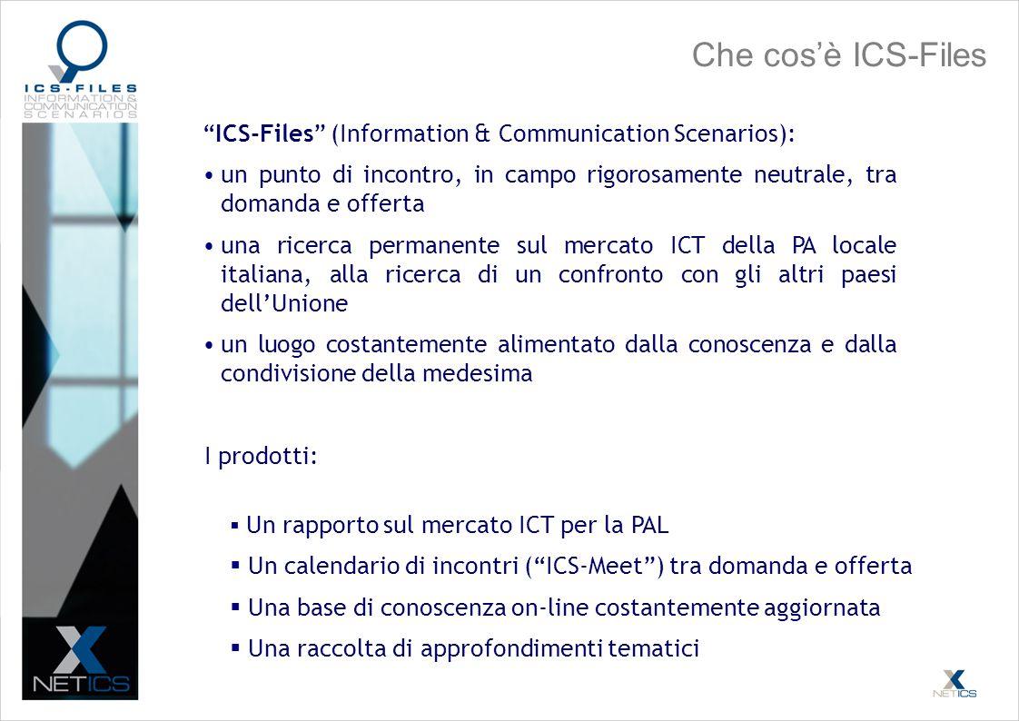 Che cosè ICS-Files ICS-Files (Information & Communication Scenarios): un punto di incontro, in campo rigorosamente neutrale, tra domanda e offerta una ricerca permanente sul mercato ICT della PA locale italiana, alla ricerca di un confronto con gli altri paesi dellUnione un luogo costantemente alimentato dalla conoscenza e dalla condivisione della medesima Un rapporto sul mercato ICT per la PAL Un calendario di incontri (ICS-Meet) tra domanda e offerta Una base di conoscenza on-line costantemente aggiornata Una raccolta di approfondimenti tematici I prodotti: