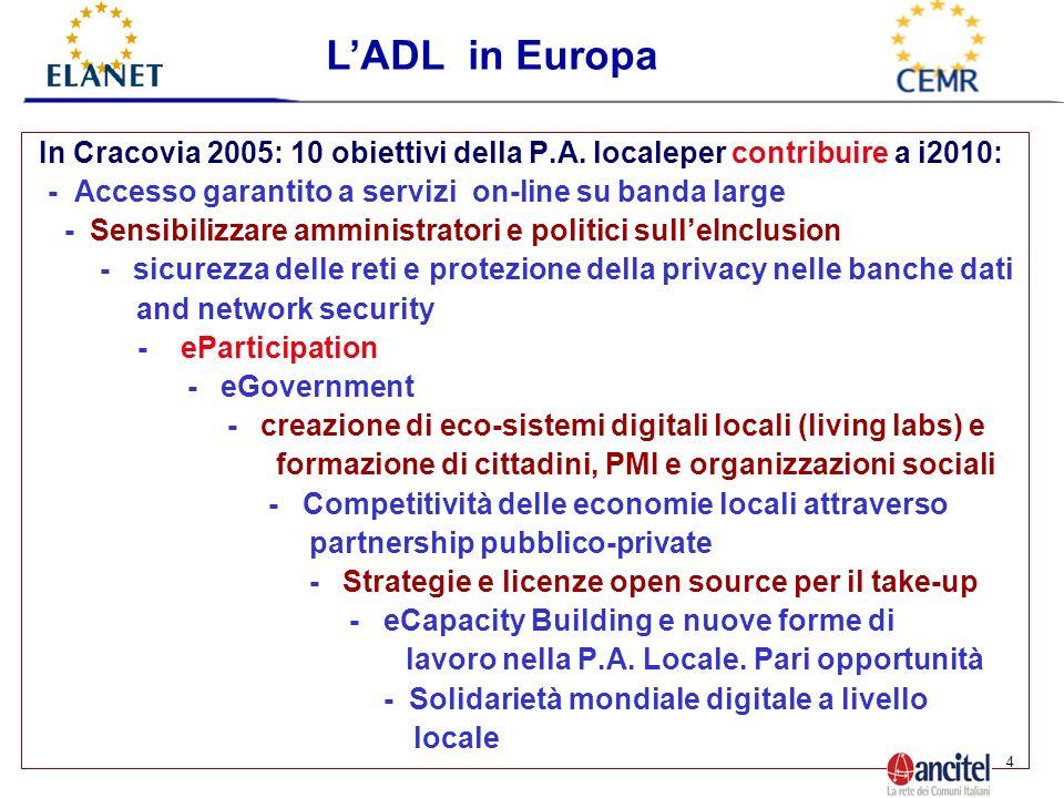 4 In Cracovia 2005: 10 obiettivi della P.A.