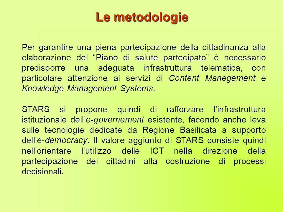 STARS si basa anche sulla valorizzazione di progetti e sottoprogetti (Piano BASITEL e BASITEL+) promossi da Regione Basilicata per la diffusione delle ICT sul territorio, nonché sullesperienza di alcune best practices già poste in essere.