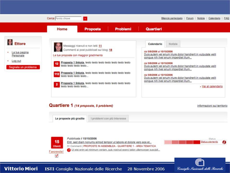 Il Progetto eDEM 1.0 Vittorio Miori ISTI-Consiglio Nazionale delle Ricerche 28 Novembre 2006 l Partner tecnologico. Responsabilità nella costruzione d