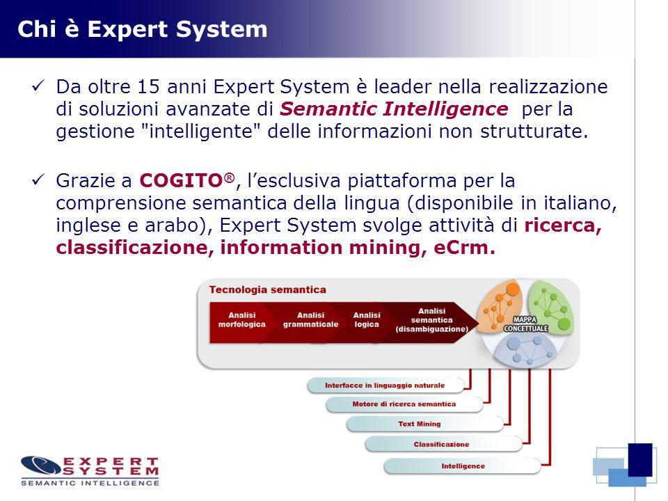 Chi è Expert System Da oltre 15 anni Expert System è leader nella realizzazione di soluzioni avanzate di Semantic Intelligence per la gestione intelligente delle informazioni non strutturate.