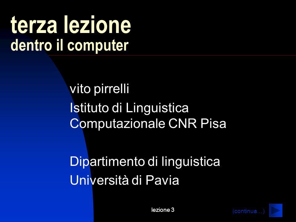 lezione 3 terza lezione dentro il computer vito pirrelli Istituto di Linguistica Computazionale CNR Pisa Dipartimento di linguistica Università di Pavia (continua…)