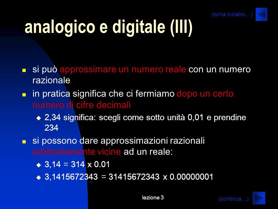 lezione 3 analogico e digitale (III) si può approssimare un numero reale con un numero razionale in pratica significa che ci fermiamo dopo un certo numero di cifre decimali 2,34 significa: scegli come sotto unità 0,01 e prendine 234 si possono dare approssimazioni razionali arbitrariamente vicine ad un reale: 3,14 = 314 x 0.01 3,1415672343 = 31415672343 x 0.00000001 (continua…) (torna indietro…)