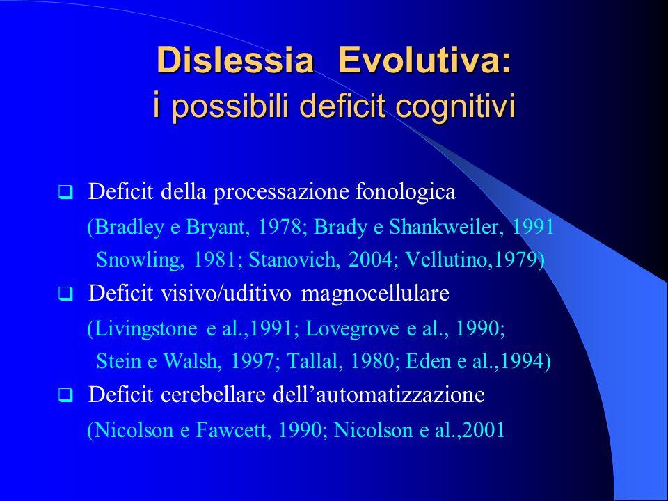 Dislessia Evolutiva: i possibili deficit cognitivi Deficit della processazione fonologica (Bradley e Bryant, 1978; Brady e Shankweiler, 1991 Snowling,