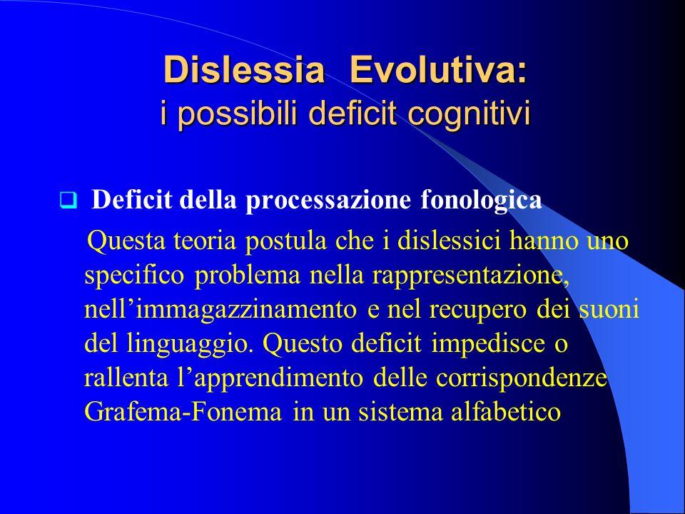 Deficit della processazione fonologica Questa teoria postula che i dislessici hanno uno specifico problema nella rappresentazione, nellimmagazzinament