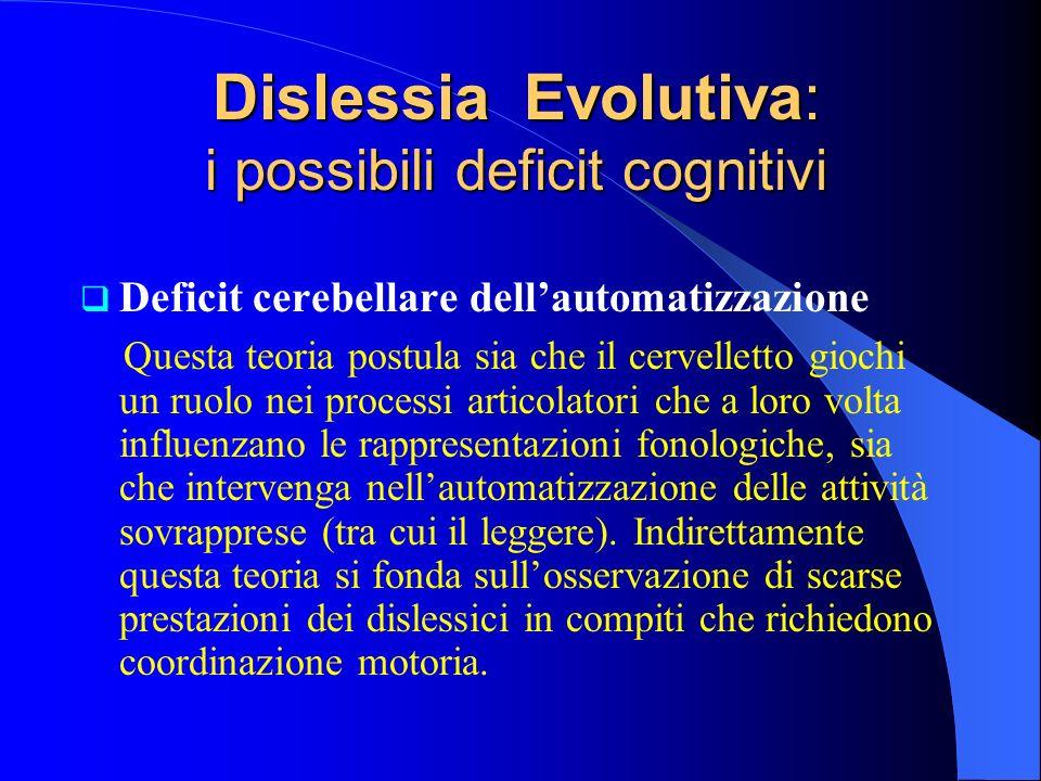 Deficit cerebellare dellautomatizzazione Questa teoria postula sia che il cervelletto giochi un ruolo nei processi articolatori che a loro volta influ