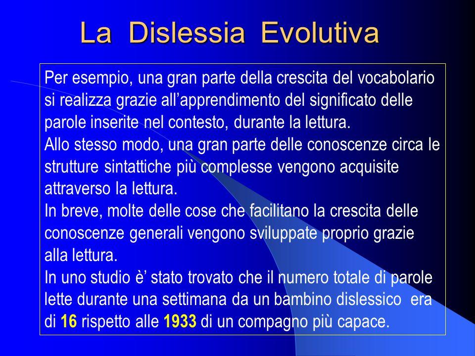 La Dislessia Evolutiva Per esempio, una gran parte della crescita del vocabolario si realizza grazie allapprendimento del significato delle parole ins
