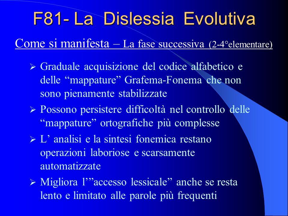 F81- La Dislessia Evolutiva Graduale acquisizione del codice alfabetico e delle mappature Grafema-Fonema che non sono pienamente stabilizzate Possono