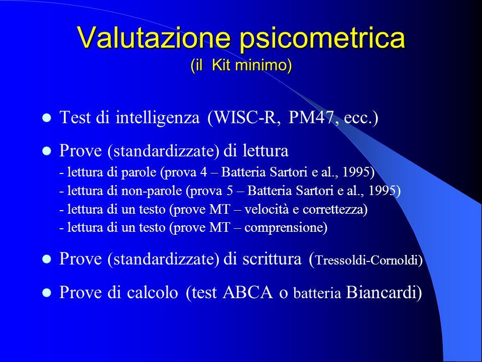 Valutazione psicometrica (il Kit minimo) Test di intelligenza (WISC-R, PM47, ecc.) Prove (standardizzate) di lettura - lettura di parole (prova 4 – Ba
