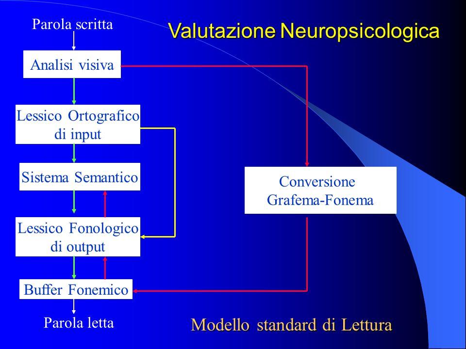 Conversione Grafema-Fonema Analisi visiva Modello standard di Lettura Parola scritta Lessico Ortografico di input Sistema Semantico Lessico Fonologico