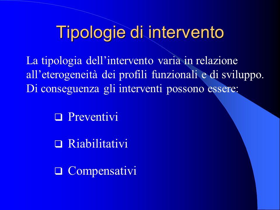 Tipologie di intervento Preventivi Riabilitativi Compensativi La tipologia dellintervento varia in relazione alleterogeneità dei profili funzionali e
