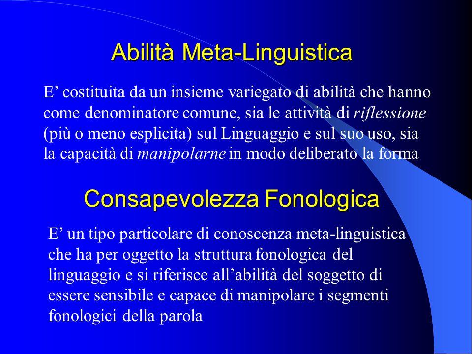 Abilità Meta-Linguistica E costituita da un insieme variegato di abilità che hanno come denominatore comune, sia le attività di riflessione (più o men
