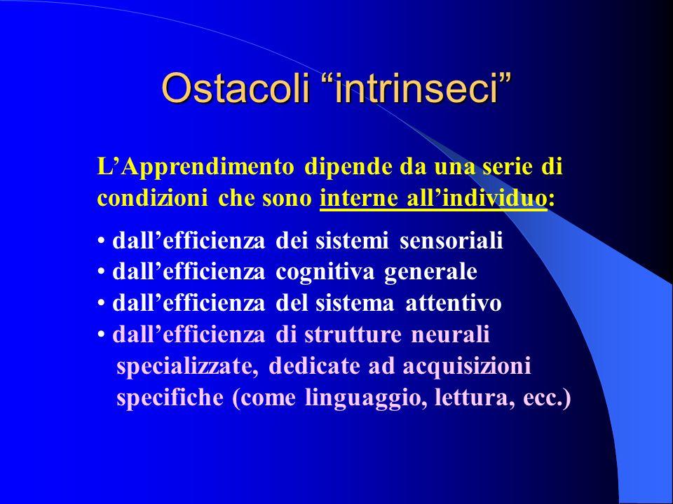 Ostacoli intrinseci LApprendimento dipende da una serie di condizioni che sono interne allindividuo: dallefficienza dei sistemi sensoriali dallefficie