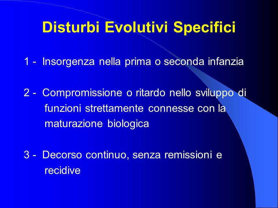 Disturbi Evolutivi Specifici 1 - Insorgenza nella prima o seconda infanzia 2 - Compromissione o ritardo nello sviluppo di funzioni strettamente connes