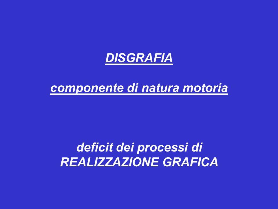 componente di natura motoria deficit dei processi di REALIZZAZIONE GRAFICA