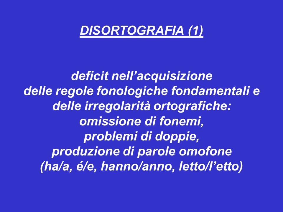 DISORTOGRAFIA (1) deficit nellacquisizione delle regole fonologiche fondamentali e delle irregolarità ortografiche: omissione di fonemi, problemi di doppie, produzione di parole omofone (ha/a, é/e, hanno/anno, letto/letto)
