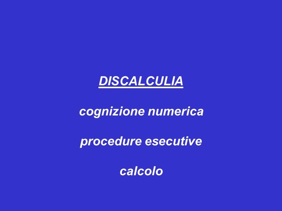 cognizione numerica procedure esecutive calcolo
