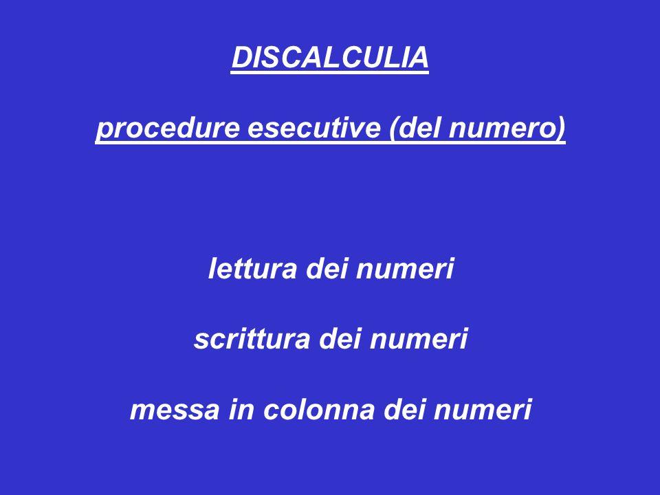 DISCALCULIA procedure esecutive (del numero) lettura dei numeri scrittura dei numeri messa in colonna dei numeri