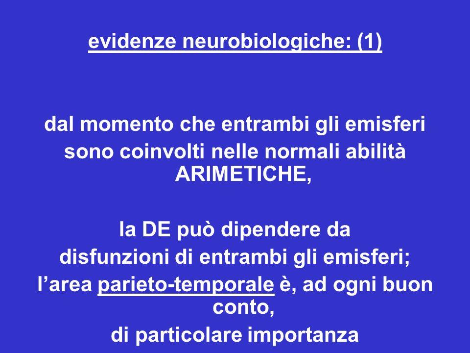 evidenze neurobiologiche: (1) dal momento che entrambi gli emisferi sono coinvolti nelle normali abilità ARIMETICHE, la DE può dipendere da disfunzioni di entrambi gli emisferi; larea parieto-temporale è, ad ogni buon conto, di particolare importanza