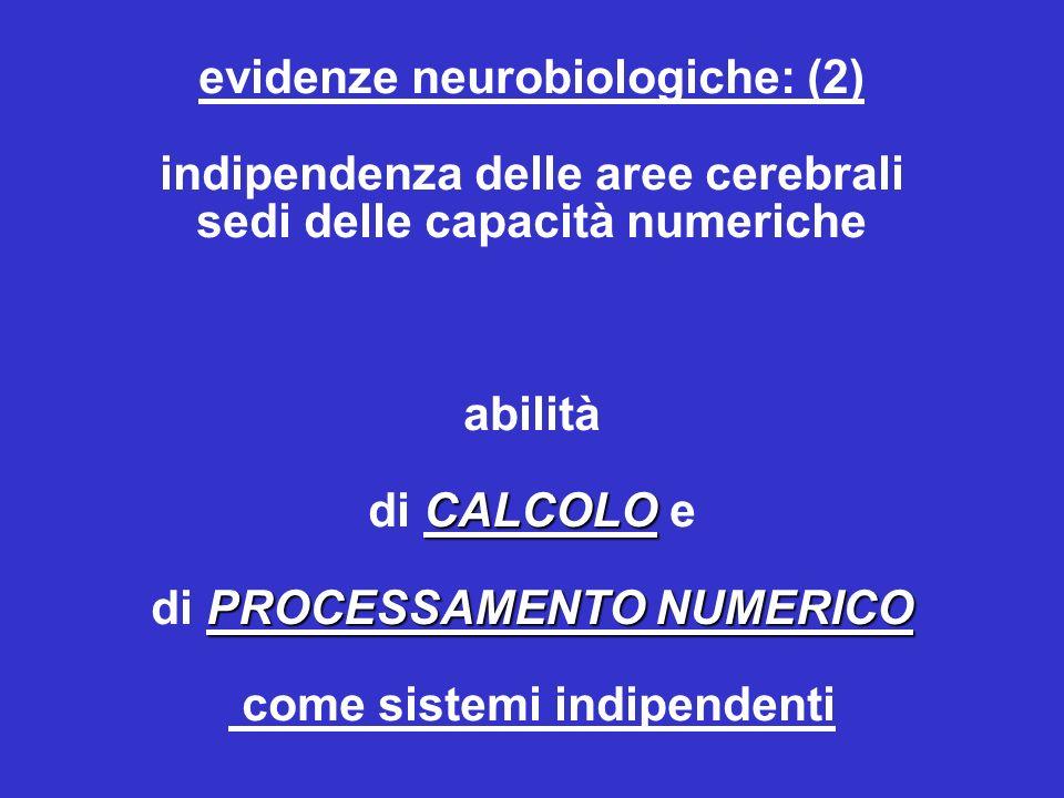 CALCOLO PROCESSAMENTO NUMERICO evidenze neurobiologiche: (2) indipendenza delle aree cerebrali sedi delle capacità numeriche abilità di CALCOLO e di PROCESSAMENTO NUMERICO come sistemi indipendenti