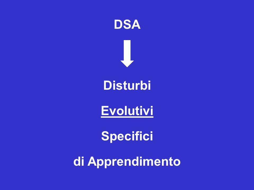 DISTURBI SPECIFICI di Apprendimento: interessano uno SPECIFICO dominio di abilità in modo SIGNIFICATIVO ma circoscritto