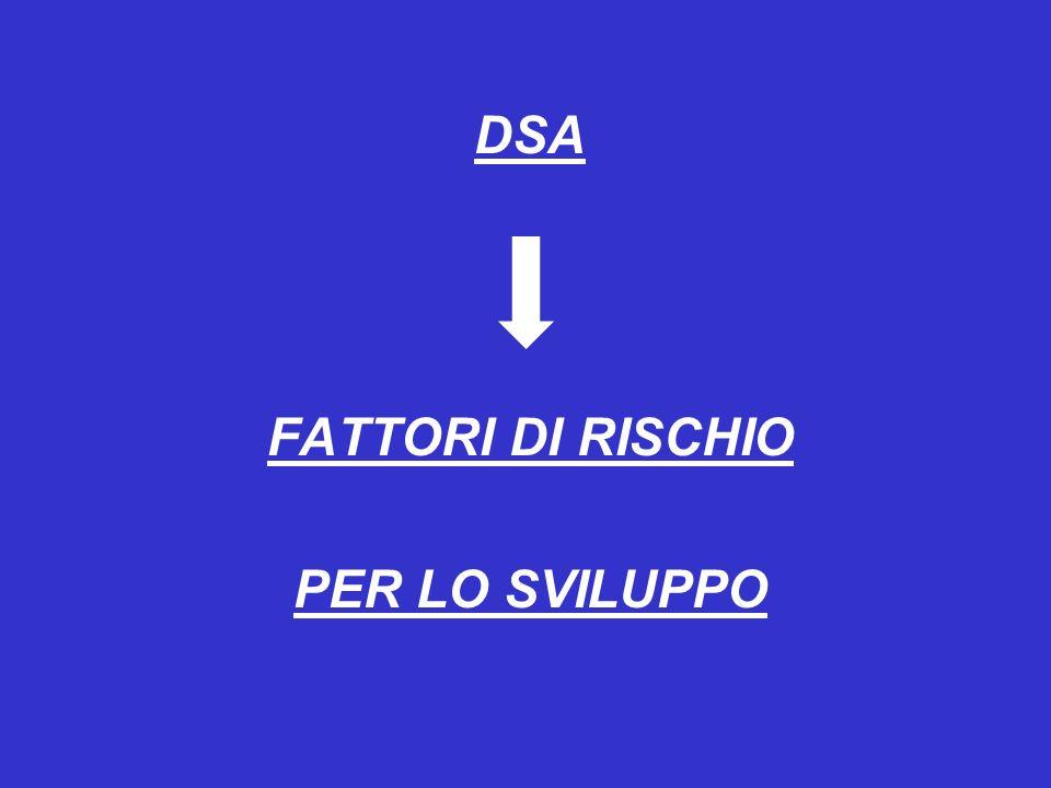 DSA FATTORI DI RISCHIO PER LO SVILUPPO
