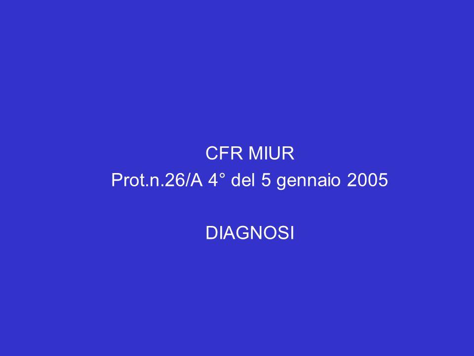 CFR MIUR Prot.n.26/A 4° del 5 gennaio 2005 DIAGNOSI