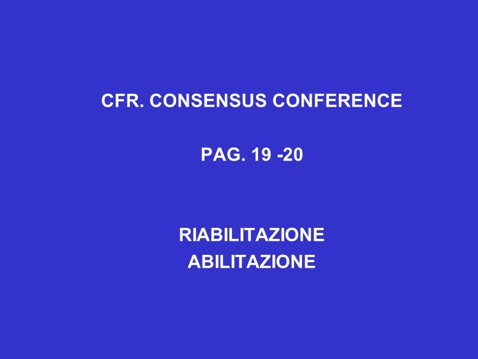 CFR. CONSENSUS CONFERENCE PAG. 19 -20 RIABILITAZIONE ABILITAZIONE